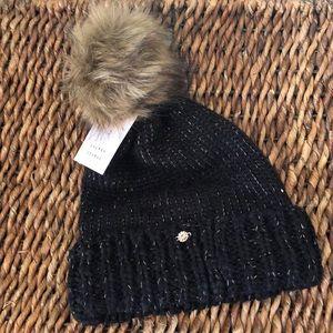 Lauren Conrad black faux fur pom-pom hat